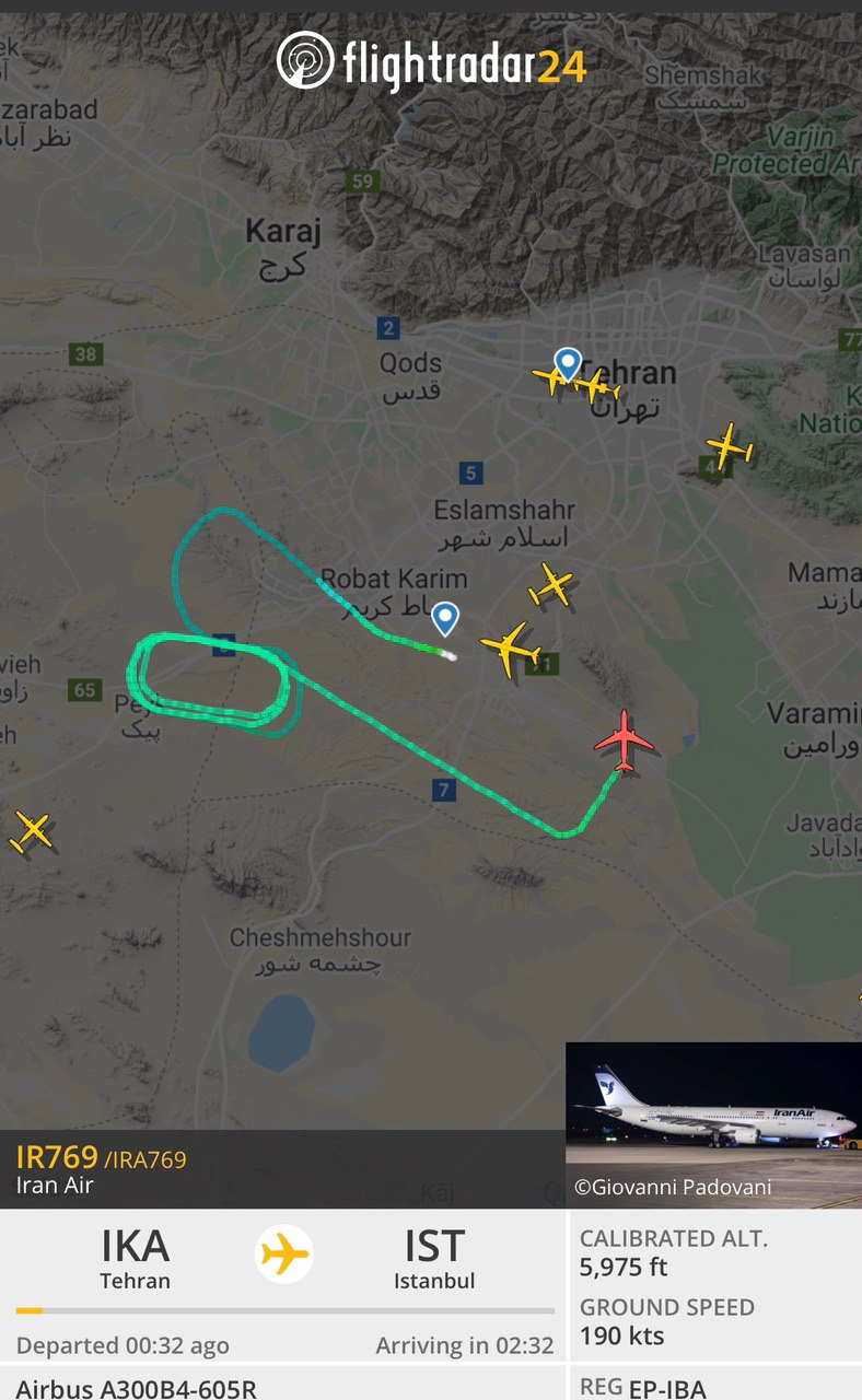 هواپیمای تهران-استانبول