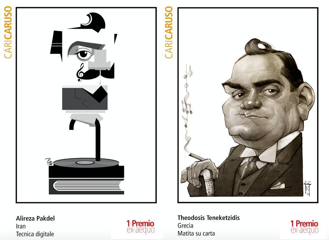 اثر علیرضا پاکدل و هنرمند یونانی در جشنواره  بین المللی کاریکاتور چهره انریکه کاروسو کشور ایتالیا