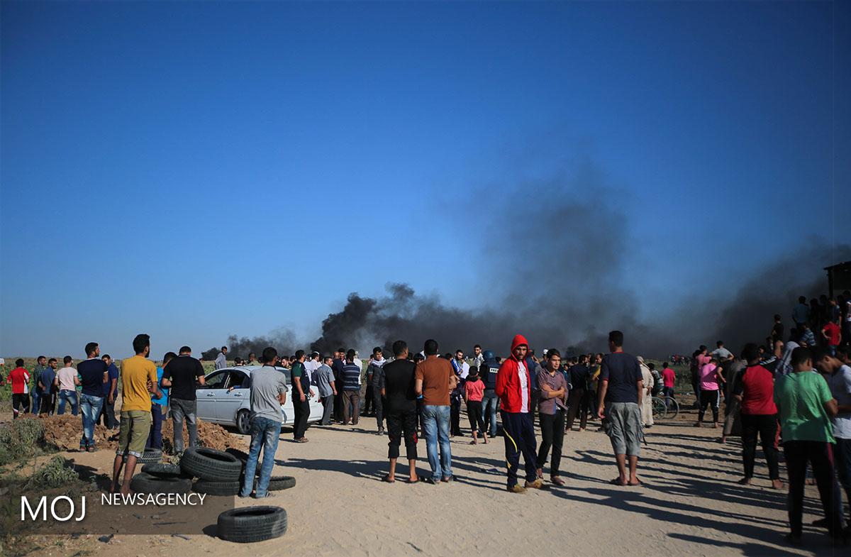 تظاهرات گسترده فلسطینی ها در مرزهای باریکه غزه