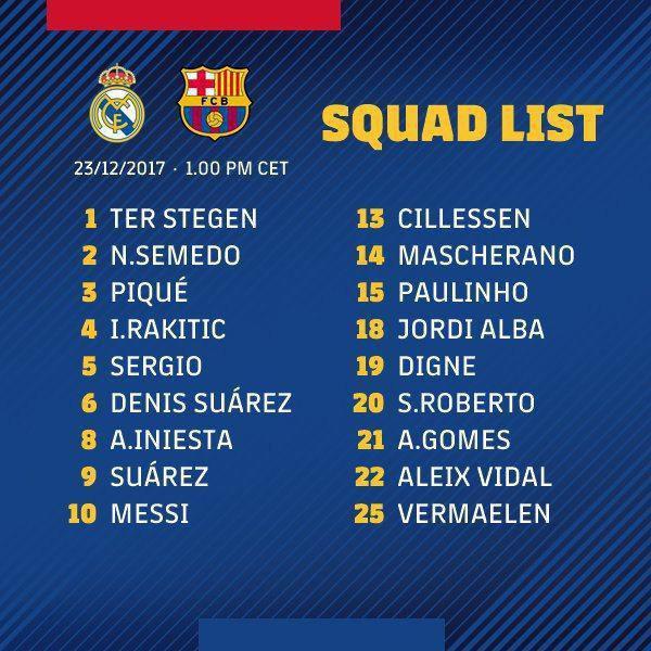 لیست رئال مادرید برای ال کلاسیکو