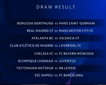 قرعه کشی مرحله حذفی لیگ قهرمانان اروپا