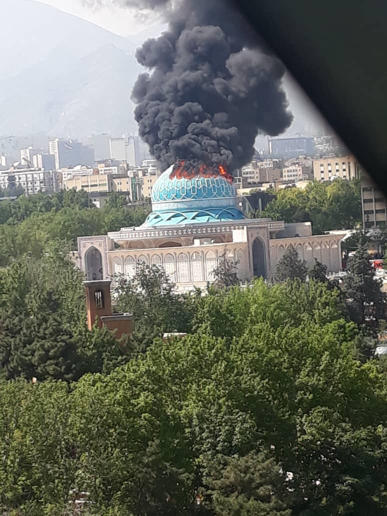 آتش سوزی گنبد مسجد مالک اشتر ستاد فرمادهی ناجا