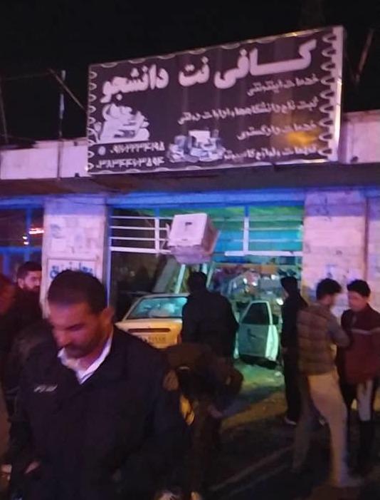 تصادف پراید بامغازه در شهر آلونی