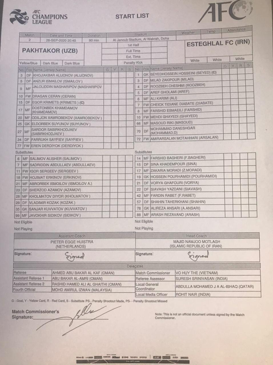 فرم بازی استقلال ایران - پاختاکور ازبکستان