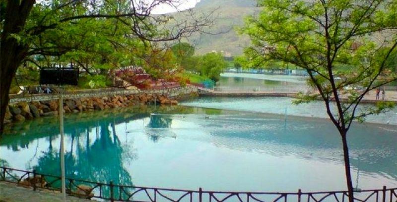 چشمه دریاچه کیو خرمآباد آبی شد