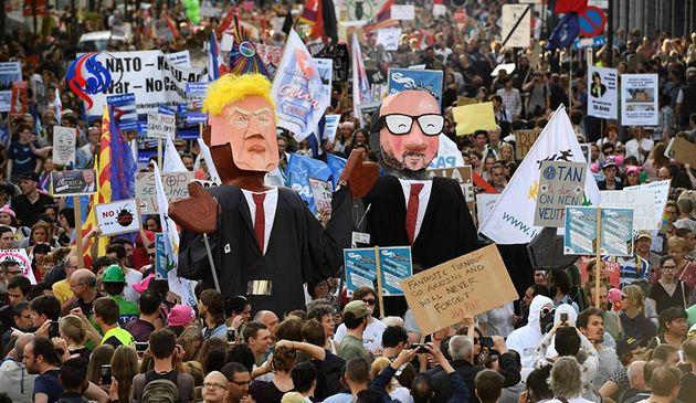 ورود جنجالی ترامپ به بروکسل برای حضور در ناتو