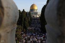حضور هزاران فلسطینی در مسجدالاقصی در اولین جمعه ماه مبارک رمضان