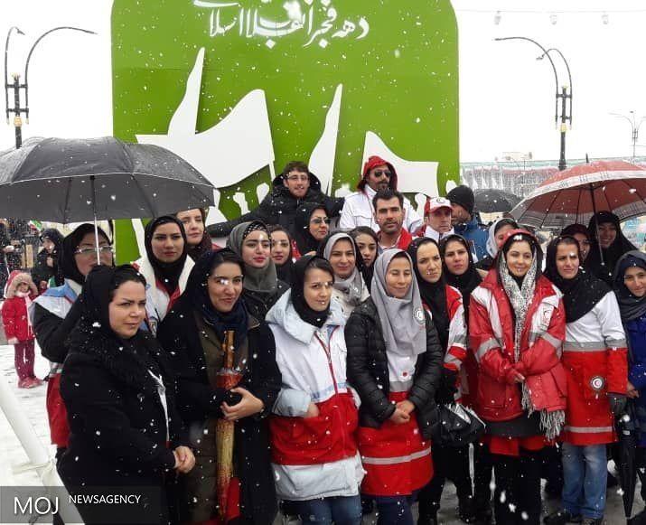 تجدید میثاق مدیران، کارکنان، جوانان و داوطلبان هلال احمر همدان با آرمان های انقلاب