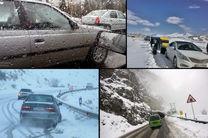 آغاز بارش برف در محور کندوان/ ترافیک سنگین و روان است