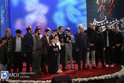 اختتامیه سی و هشتمین جشنواره فیلم فجر-عوامل فیلم خورشید به کارگردانی مجید مجیدی وتهیه کنندگی امیر بنان