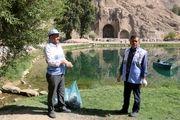 محوطه تاریخی طاقبستان در روز جهانی بهداشت محیط پاکسازی شد