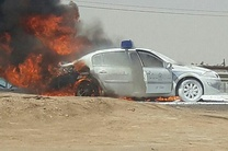 خودروی پلیس در آتش سوخت