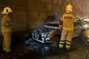 جزئیات آتش سوزی خودروی ۲۰۶ در اتوبان امام علی