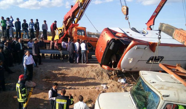 اسامی مصدومان حادثه واژگونی اتوبوس زائران ایرانی اعلام شد