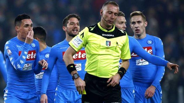 خشم ناپولی از نحوه قضاوت داور دیدار نیمه نهایی کوپا ایتالیا