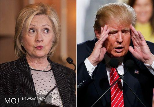 آراء کلینتون و ترامپ در صورت حضور نامزد سوم برابر می شود