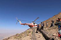 نجات کوهنورد مصدوم در عملیات امداد هوایی سازمان امداد و نجات