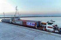 دو کشتی تجاری از مسیر کریدور بین المللی چین، قزاقستان، ایران وارد مجتمع بندری کاسپین شد