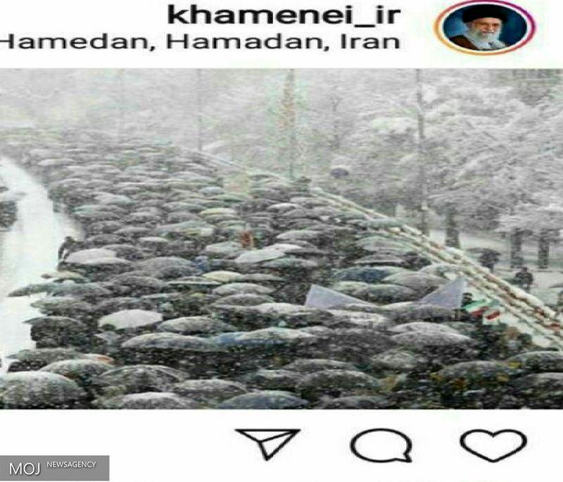 بازتاب حضور حماسی مردم همدان در صفحه اینستاگرام رهبر معظم انقلاب