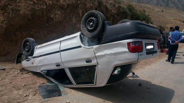 2 کشته و سه مجروح در اثر واژگونی مرگبار پراید در اصفهان