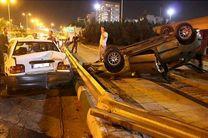 تصادف زنجیرهای خودرو در بزرگراه نیایش/ مصدومیت 2 نفر