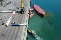 غرق شدن یک کشتی کانتینربر در بندر شهید رجایی بندرعباس