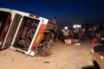 واژگونی اتوبوس در محور سلفچگان - قم
