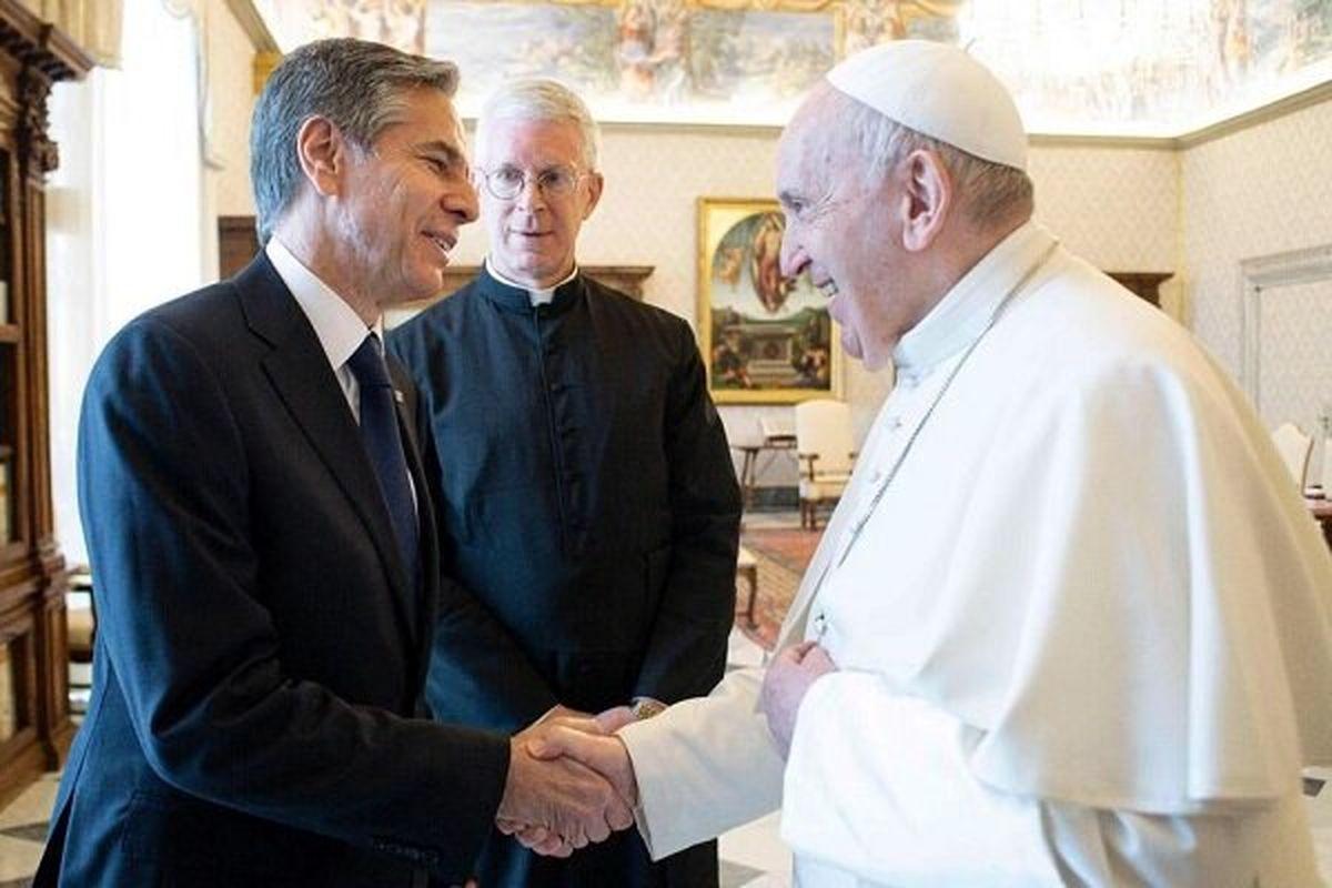 دیدار وزیر خارجه آمریکا با پاپ فرانسیس پشت درهای بسته