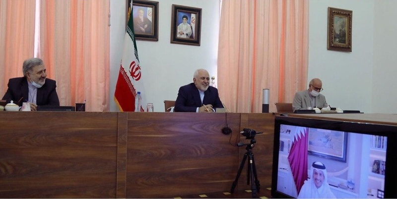 گفتگو و تبادل نظر ظریف با وزیر خارجه قطر از طریق ویدیو کنفرانس