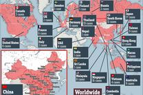 پراکندگی ویروس کرونا در سراسر جهان
