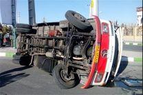 14 مصدوم در واژگونی مینیبوس در جاده ساری - قائمشهر
