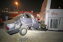 حادثه برخورد پژو با اتوبوس در بندرعباس یک کشته بر جا گذاشت