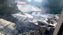 آتش سوزی ۱۶ منزل مسکونی و مسجد  در روستای لانیز