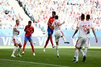 پایان نیمه اول بازی کاستاریکا و صربستان با تساوی بدون گل