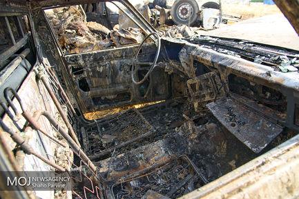 صبح تصادف مرگبار اتوبوس و تانکر سوخت در سنندج
