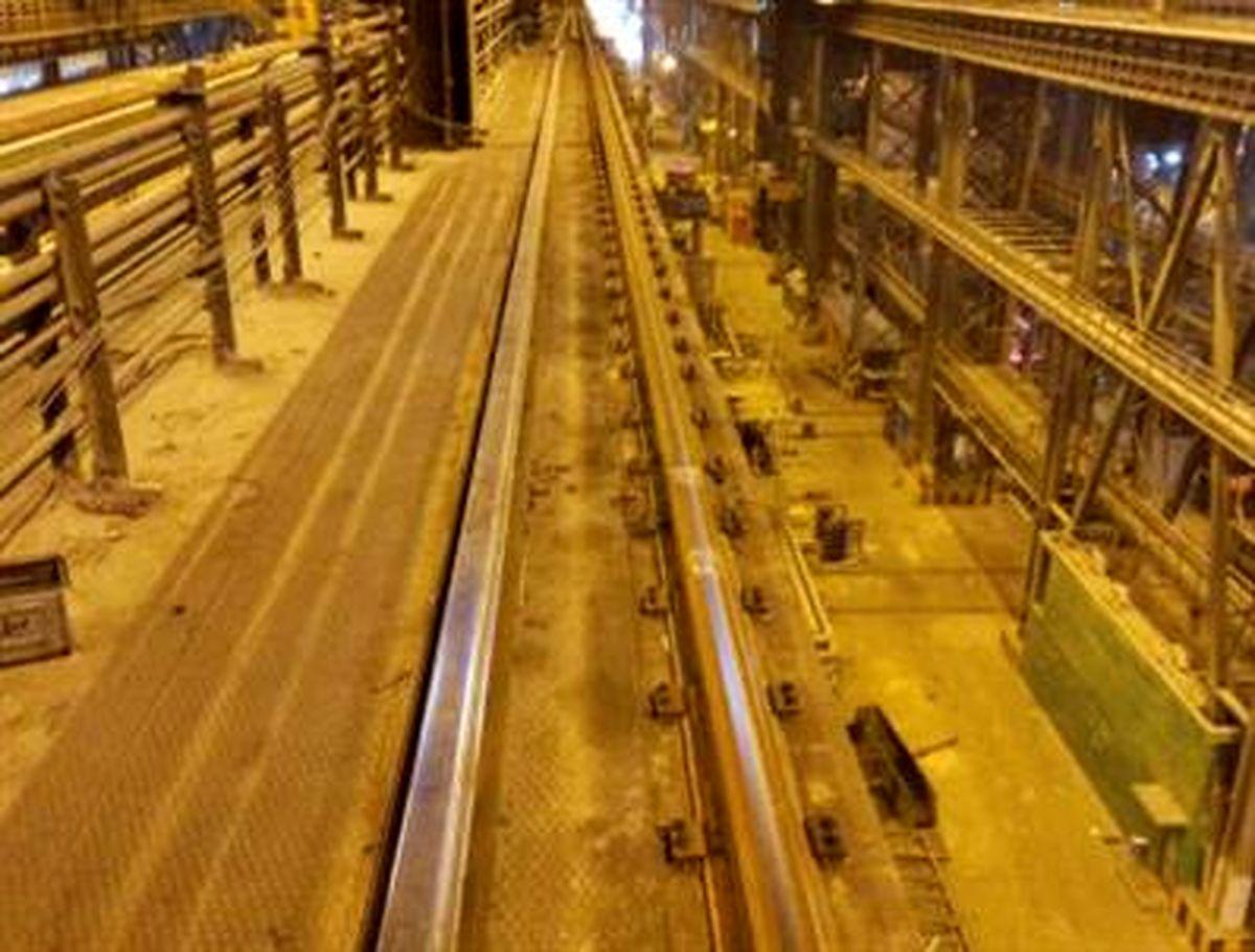تعویض 270 متر ریل جرثقیلهای سقفی سالن ریختهگری ومتالورژی ثانویه