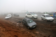 تصادف زنجیره ای ۲۰ دستگاه خودرو در کمربندی شمالی اراک